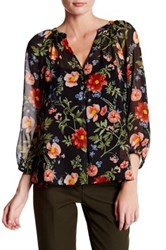 Joie Gloria Sheer Silk Floral Tunic Blouse Black