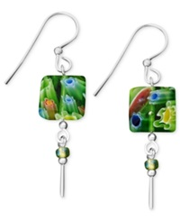 Jody Coyote Sterling Silver Earrings Small Square Green Glass Drop
