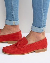 Asos Tassel Loafers In Red Suede With Natural Sole Red