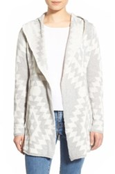 Woven Heart Diamond Pattern Hooded Cardigan Gray