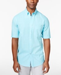 Club Room Men's Micro Check Short Sleeve Shirt Only At Macy's Sweetwater