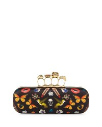 Alexander Mcqueen Obsession Knuckle Box Clutch Bag Black Multi