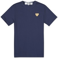 Comme Des Garcons Play Gold Heart Logo Tee Navy