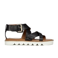 See By Chloe Women's Leather Flat Strappy Sandals Black
