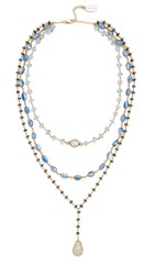 Ela Rae Three In One Layer Midi Necklace Aquamarine Kyanite Hematite