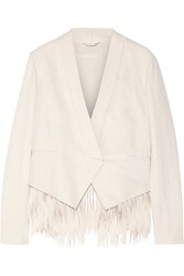 Brunello Cucinelli Fringed Cotton And Linen Blend Blazer White