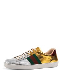Gucci New Ace Snakeskin Low Top Sneaker Gold Silver Multi