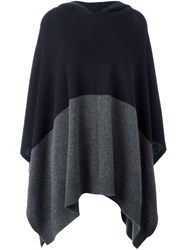 Chinti And Parker Contrast Colour Hooded Cape Blue