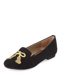 Adrienne Vittadini Doloris Embroidered Suede Flat Black Go