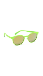 Italia Independent Round Neon Sunglasses With Mirrored Lenses Yellow