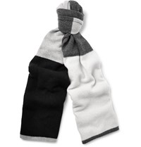 The Elder Statesman Colour Block Wool And Cashmere Blend Scarf Gray