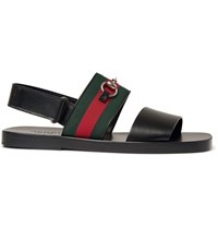 Gucci Horsebit Webbing Trimmed Leather Sandals Black