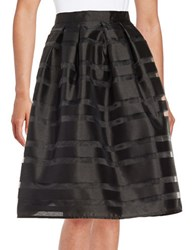 Marina Pleated Striped Skirt Black