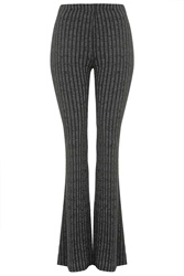 Topshop Petite Jersey Ribbed Flare Trousers Grey