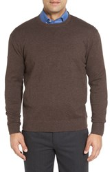 Robert Talbott Men's 'Jersey Sport' Cotton Blend Crewneck Sweater Coffee