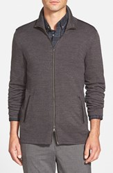 Men's John Varvatos Star Usa Merino Wool Blend Knit Zip Sweater With Leather Trim Charcoal Heather