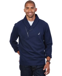 Nautica Shawl Collar Asymmetrical Zipper Sweatshirt Navy