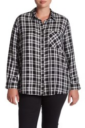 Como Vintage Mixed Plaid Shirt Plus Size Black