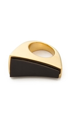 Maiyet Slanted Concave Ring With Inlay Black Horn