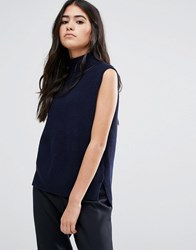Ymc Merino Wool Roll Neck Knit Tank Top Navy Blue
