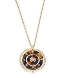Kate Spade Out Of Her Shell Round Pave Pendant Necklace Brown