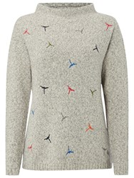 White Stuff Dragonfly Embroidered Jumper Bell Grey