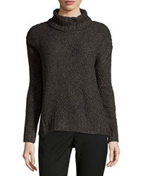 Chelsea And Theodore Turtleneck High Low Sweater Grey Marle