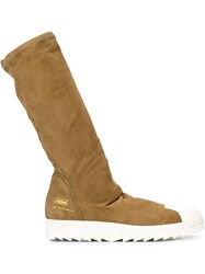 Adidas Originals Rick Owens X Adidas 'Superstar' Boots With White Rubber Sole Nude And Neutrals