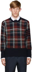 Thom Browne Navy Plaid Sweater