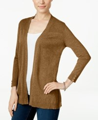 Karen Scott Long Sleeve Open Front Cardigan Only At Macy's Chestnut Heather