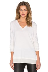 Vince Mixed Media Slim V Neck Sweater Ivory