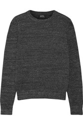 A.P.C. Atelier De Production Et De Creation Rivage Metallic Stretch Wool Blend Sweater Dark Gray