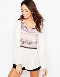 Only Boho Top With Embroidered Neckline Cloud Dancer White