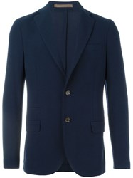 Eleventy Notched Lapel Blazer Blue
