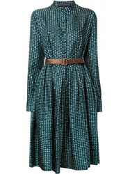 Martin Grant Printed Buttoned Dress Green