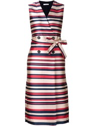 Tome Sleeveless Striped Trench Coat Blue