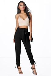 Boohoo Belted Tailored Tie Ankle Slim Trousers Black