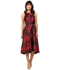 Tahari By Arthur S. Levine Tea Length Metallic Jacquard Dress Crimson Scarlet Black Women's Dress Red