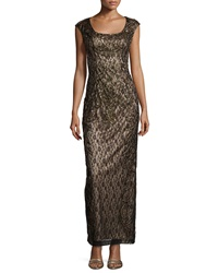 Sue Wong Beaded Lace Cap Sleeve Gown Black Nude