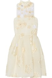 Fendi Floral Appliqued Embellished Cloque Mini Dress Cream