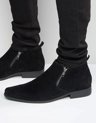 Asos Zip Chelsea Boots In Black Faux Suede Black