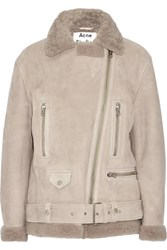Acne Studios More She Sue Shearling Biker Jacket Stone