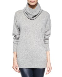 The Row Superfine Cashmere Blend Slouchy Turtleneck Sweater Size Large Light Grey Melang