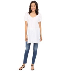 Three Dots Laverne Side Slit Tunic White Women's Short Sleeve Pullover