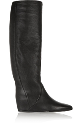 Textured Leather Wedge Knee Boots