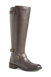 Enzo Angiolini 'Sayin' Riding Leather Boot Wide Calf Gray