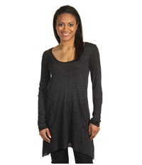 Allen Allen L S Angled 2 Pocket Scoop Tunic Black Women's Long Sleeve Pullover