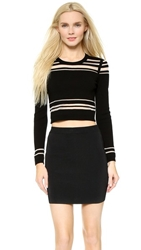 Milly Illusion Striped Crop Top Black