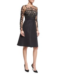 Pamella Roland Long Sleeve Illusion Filigree Embroidered Dress Black