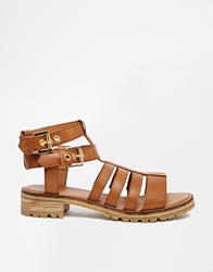 Bronx Chunky Gladiator Flat Sandals Brownleather